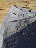 Assorted kinds jeans — Stock Photo
