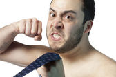 An angry man with a close fist — Stock Photo