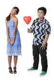 A man giving the balloon to his girl — Stock Photo