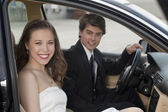 A romantic couple inside the car — Foto Stock