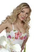 Atraente senhora sexy vestido de verão — Fotografia Stock