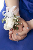 A lady in prom with wrist corsage — Stock Photo