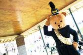 A school mascot at a santa claus parade — Stock Photo