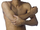 A young man suffering on arm pain — Stock Photo
