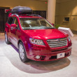 Stock Photo: 2013 Subaru Outback red suv truck image roofrack