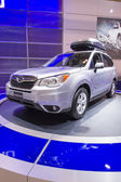 2013 subaru forest suv truck grey with roof rack 3 — Stock Photo