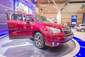 2013 subaru forest suv truck red with roof rack 1 — Stock Photo
