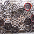 Royalty-Free Stock Photo: Sports tire rims on display photos