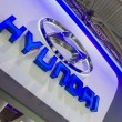 Hyundai Logo at car show — Stock Photo