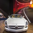 Stock Photo: 2014 Mercedes Benz SLS AMG Roadster Convertable Car White