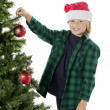 Adorable boy decorating tree — Stock Photo #23932991