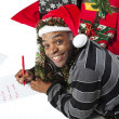 Africamericmwriting letter to santa — Stock Photo #23939361