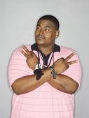 Afryki amerykański mężczyzna plansza znak pokoju — Zdjęcie stockowe