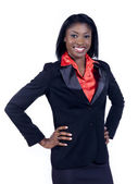 African american businesswoman with hands on hips — Stock Photo