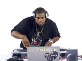 African american dj playing music — Stock Photo