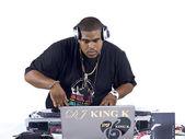 African american dj playing music — Stock Photo