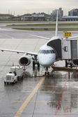 Airplane in toronto pearson international airport — Stock Photo