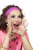 Angled shot of girl yelling — Stock Photo