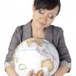 Asian woman hugging a globe — Stock Photo #24284057