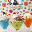 Stock Photo: Assorted ice cream flavors and disco ball