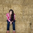 Attractive girl sitting on bales of hay - Stock Photo