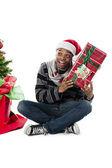 Hombre curioso en navidad — Foto de Stock