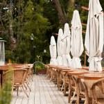Summer restaurant terrace. End of the Season. — Stock Photo