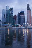 Business area Moscow City. Night view over the river. Nightfall — Stock Photo