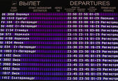 Airport departures information board — Stock Photo