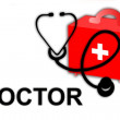 Medical doctor MD, stethoscope and first aid kit - illustration / icon isolated on white background — Stock Photo
