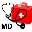 Stock Photo: Medical doctor MD, stethoscope and first aid kit - illustration / icon isolated on white background