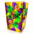 Colorful transparent stained glass Irish shamrock clover Ireland and daisies flower vase candle holder St. Patrick's Day — Stock Photo