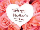 Happy Mother's Day picture image illustration with pink roses background isolated writing handwriting — Zdjęcie stockowe