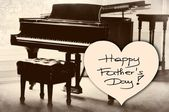 Happy Father's Day picture image illustration with piano background isolated writing handwriting — Stock Photo