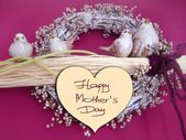 Happy Mother's Day picture image illustration with birds, wreath, twigs decoration background isolated writing handwriting — Stock Photo