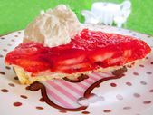 Strawberry and jello jelly pie cake tart whipped cream on a plate — Stock Photo