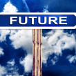 Blue future direction road street sign post and the sky  — Stockfoto