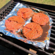 Hamburgers beef meat grilled barbecue outdoor cookout — Stock Photo #32809823