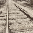 Close up closeup of a speedway railroad old rail railroad track vintage retro sepia — Stock Photo #51629377