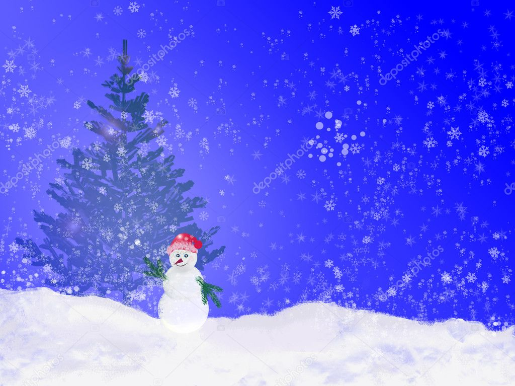 Snowman  Stock Photo #12841433