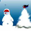 Snowmen and Birds Merry Christmas and Happy New Year — Stock Photo