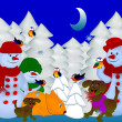 Snowman, bird, a dog, a fox in the winter forest — Stock Photo