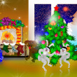 Happy animals celebrate Christmas — Stock Photo #16019329