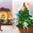 Happy animals celebrate Christmas — Stockfoto