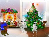Happy animals celebrate Christmas — Stock Photo