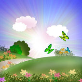 Butterflies and flowers — Stock Photo