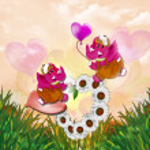 Elephant. Valentine party. heart of daisies — Stock Photo