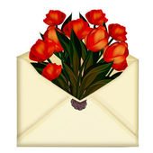 Envelope with flowers tulips — Stock Photo