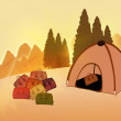 Royalty-Free Stock Photo: Camping. Tent and travel bags on the background of the summer la