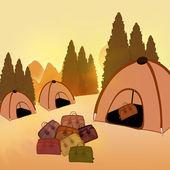 Camping. bolsas de viajes y tienda en el fondo de verano — Foto de Stock